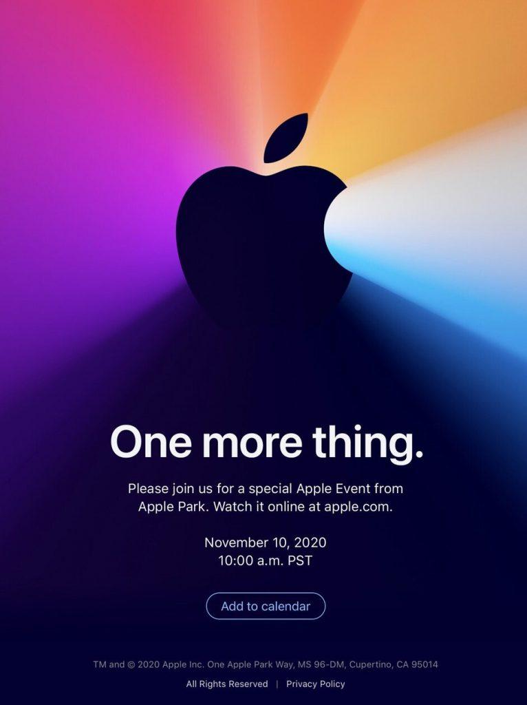 """蘋果在宣布11月10日的發布會時,調侃了""""還有一件事"""""""